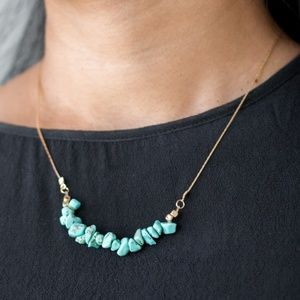 Gold Necklace with Teal Stones